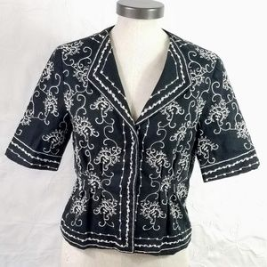Rafaella Linen Shortsleeve Embroidered Jacket